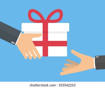 Käsi antaa lahja laatikko toiselle kädelle. Lahjaaminen ja lahjakonseptin vastaanottaminen. Tasainen tyyli