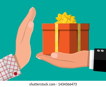 Hand giving gift box to other hand. Hidden wages, salaries black payments, tax evasion, bribe. Anti corruption concept. Vector illustration in flat style