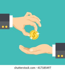 Hand giving gold coin to another hand flat illustration. Modern flat design concepts for web banners, websites, printed materials, infographics. Creative vector illustration