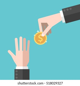 Hand giving gold dollar coin to another one asking for help. Charity, donation and poverty concept. Flat design. EPS 8 vector illustration, no transparency