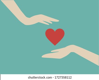 Hand giving a heart to another one's hand. Concept about love, care, sharing, donation, human kindness.