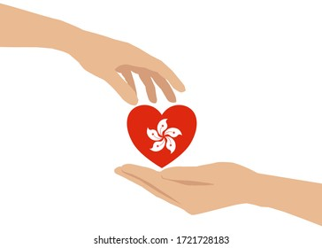 There's a hand giving a heart to another one's hand. The heart is contained the Hongkong flag inside. Concept about care, sharing