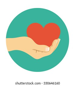 Hand Giving Heart Colored Vector Illustration