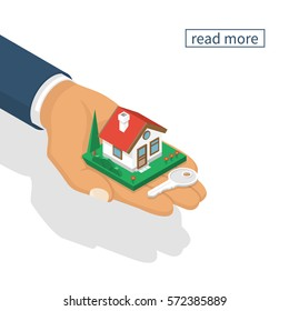 Hand giving house keys isometric design, isolated on white background. Vector illustration flat style. Real estate agent handing holding in palm home and key. Template for sale, rent home.