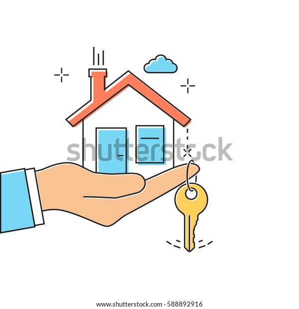 Hand giving house keys. Thin line vector illustration flat minimal design. Real estate agent handing over house keys. Template for sale, rent home.