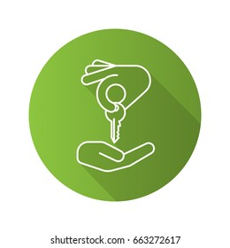 Hand giving key to another hand. Flat linear long shadow icon. Real estate market deal. Homebuyer. Private property purchase. Vector outline symbol