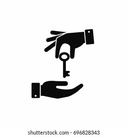 Hand giving a key to other hand icon. Vector black illustration.