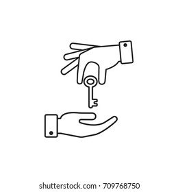 Hand giving a key to other hand. Vector outline illustration.
