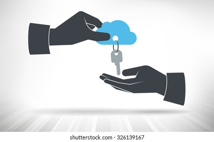 Hand giving keys to cloud. Concept of cloud access handed over from one person to another.
