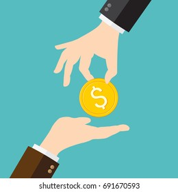 Hand giving money to another hand
