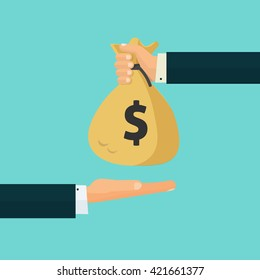 Hand giving money bag to another hand, payment, credit, loan, banking poster vector illustration isolated on blue background, cartoon flat design