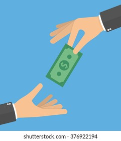 Hand giving money bill to another hand. Charity or payday concept. Flat style