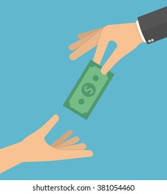 Hand giving money bill to another hand. Giving money to the poor or helping the poor concept. Vector illustration in flat style