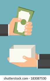 Hand giving money bill, vector
