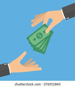 Hand giving money bills to another hand. Donation, charity or payday concept. Hand holding money bills. Flat style design
