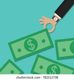 Hand giving money bills vector