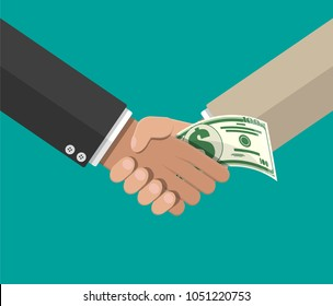 Hand giving money to other hand. Handshake. Hidden wages, salaries black payments, tax evasion, bribe. Anti corruption concept. Vector illustration in flat style