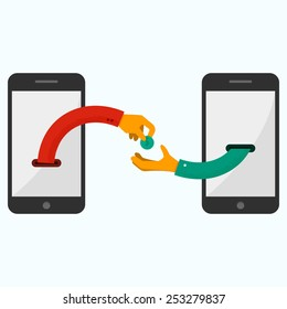 Hand giving money to other hand. Internet banking and mobile payments using smartphone, cash and near field communication technology, online banking. Payments methods. Flat vector illustration