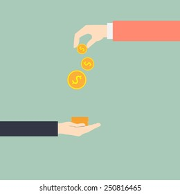 hand giving money to other hand, vector illustration.