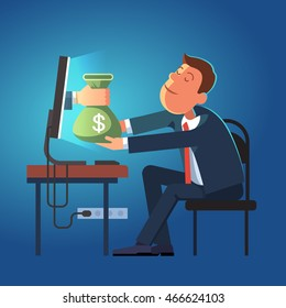 Hand giving money sack from a computer to young business man sitting at his office desk. Modern flat style concept vector illustration isolated on dark blue background.
