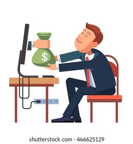 Hand giving money sack from a computer to young business man sitting at his office desk. Modern flat style concept vector illustration isolated on white background.