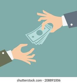 Hand giving money. Vector Illustration.