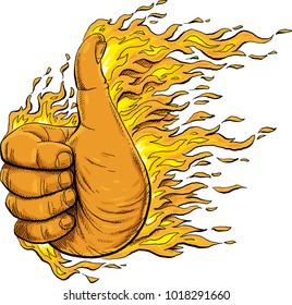 A hand giving a positive thumbs up signal on fire.