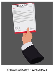 Hand giving Proposal Document vector Illustration.