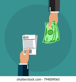 Hand giving receipt bill and another hand giving cash money, Paying bills, Payment background design - vector illustration