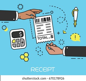Hand giving and receiving sales printed receipt flat icon. Shopping paper ATM bill. Vector illustration.