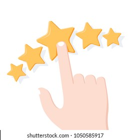 Hand Giving Star Rating. Feedback, consumer or customer rating, review, evaluation, satisfaction level, critic icon concept. Flat outline modern symbol on white background.