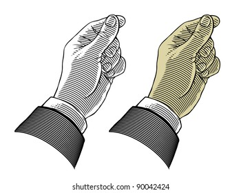 Hand giving or take something (vector illustration, isolated, transparent background)