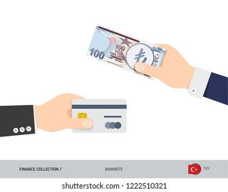 Hand giving Turkish Lira 100 Turkish Lira and credit card instead. Flat style vector illustration. Business finance concept.