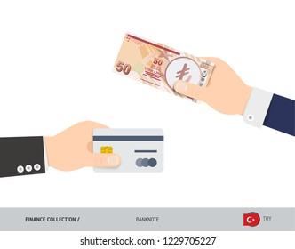 Hand giving Turkish Lira 50 Turkish Lira and credit card instead. Flat style vector illustration. Business finance concept.