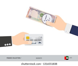 Hand giving United Arab Emirates Dirham 50 United Arab Emirates Dirham and credit card instead. Flat style vector illustration. Business finance concept.