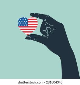 hand giving USA heart symbol