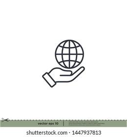 hand and globe icon, save earth symbol vector illustration design element