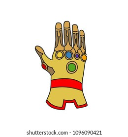 Hand glove with cosmic gems for game or cards. Vector illustration. Line style.