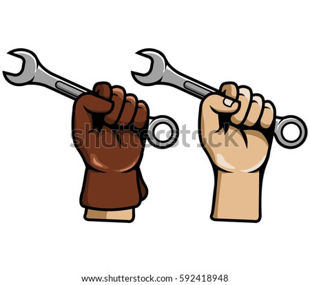 Hand Grab Wrench Stock Vector (Royalty Free) 592418948 - Shutterstock