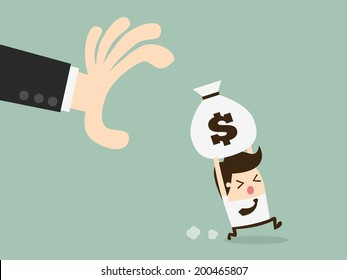 hand grabbing money bag