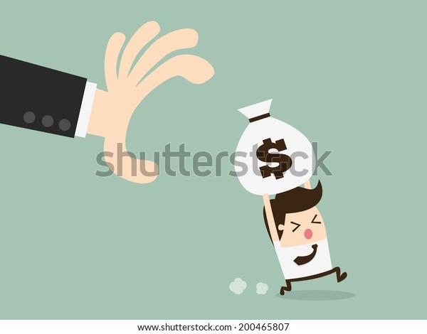 saco de dinheiro agarrando mão