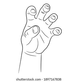 Hand with grasping crooked fingers sketch draw from the contour black brush lines different thickness on white background. Vector illustration.