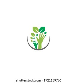 Hand green leaf logo icon illustration