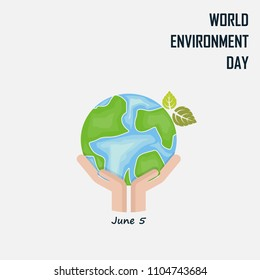 Hand and Green Leaves sign.World Environment day concept vector logo design template.June 5st World Environment day concept.World Environment day Idea Campaign.Vector illustration.