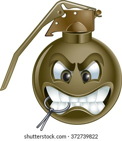 hand grenade cartoon with pin in mouth