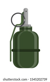 Hand grenade flat vector illustration. War ammunition and weapon isolated on white background. Explosive bomb, combat, soldier equipment clipart. Military dangerous object design element