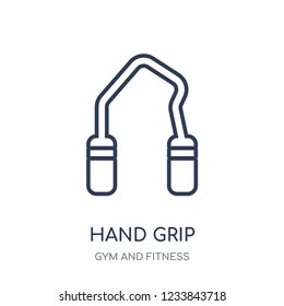 Hand grip icon. Hand grip linear symbol design from Gym and Fitness collection. Simple outline element vector illustration on white background