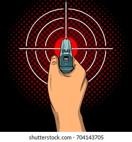 Hand with the gun and aim pop art style. Hand drawn comic book imitation vector illustration