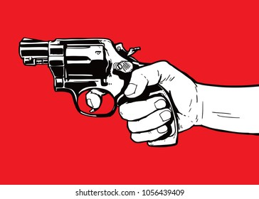 hand with gun illustration vector