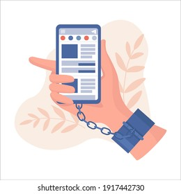 Hand in handcuffs holding smartphone with social network application vector flat illustration. Chained and shackled hand, addicted to social networking, Internet dependence concept.